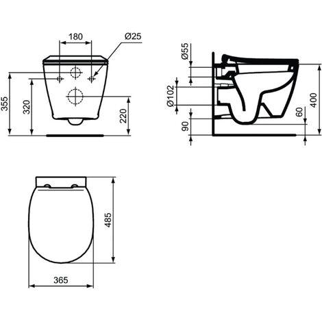 Estándar ideal - Taza de inodoro suspendida de porcelana y solapa con tope de caída blanco - CONECTAR ESPACIO