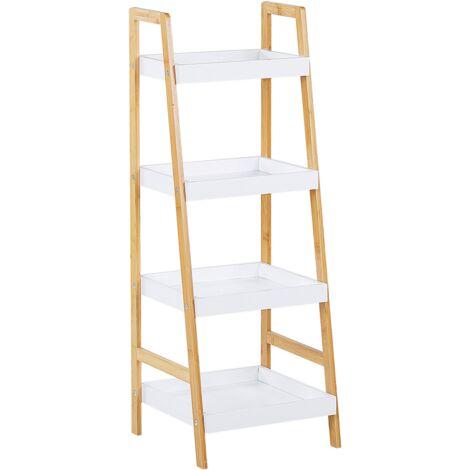 Estante 4 baldas blanco/madera clara BRANDON