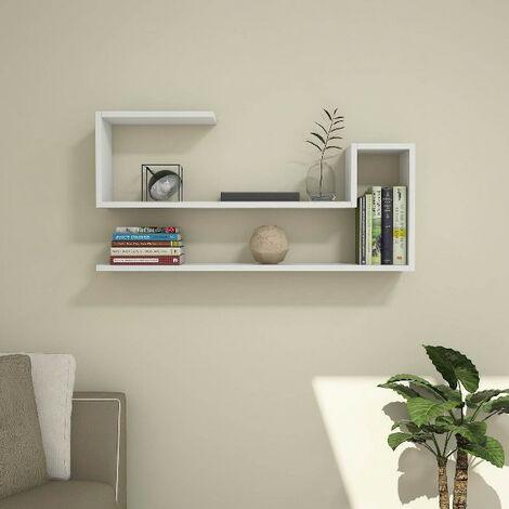 Estante Airy Flotante, de Pared, para Libros - para Salon, Oficina - Blanco en Madera, 100 x 20 x 50 cm