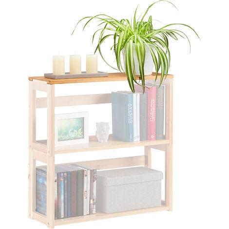 Estante apilable, Extensible, Mueble de salón & dormitorio, De pie, Abierto, Bambú, 60x20 cm, Marrón