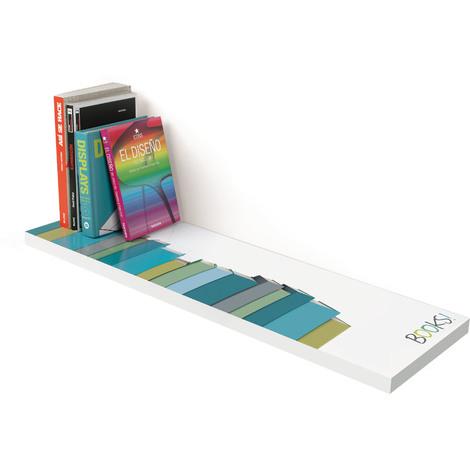 Estante atamborado rectangular de DM, de estilo juvenil, con un motivo de libros y 250 mm de profundidad.