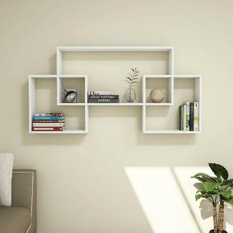 Estante Bello - Flotante, de Pared, para Libros para Salon, Oficina - Blanco, in Aglomerado Melaminico, PVC, 150x22x75 cm