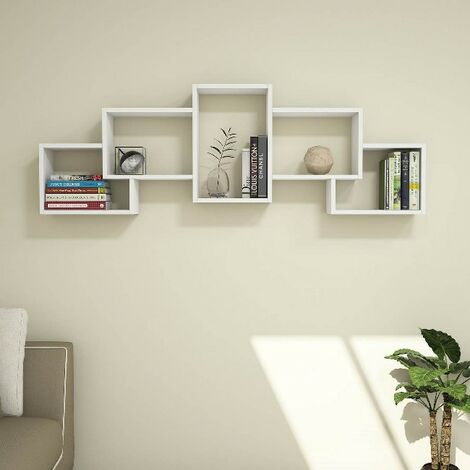 Estante Berril - Flotante, de Pared, para Libros para Salon, Oficina - Blanco, in Aglomerado Melaminico, PVC, 164x22x55 cm