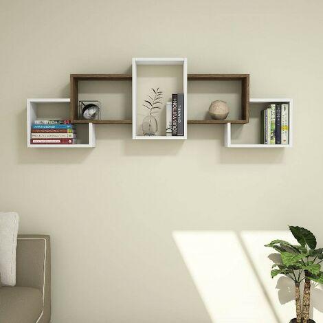Estante Berril Flotante, de Pared, para Libros - para Salon, Oficina, Estudio - Blanco, Nogal en Madera, 164 x 20 x 55 cm