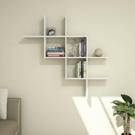 Estante Boite - Flotante, de Pared, para Libros para Salon, Oficina - Blanco, in Aglomerado Melaminico, PVC, 125x22x125 cm