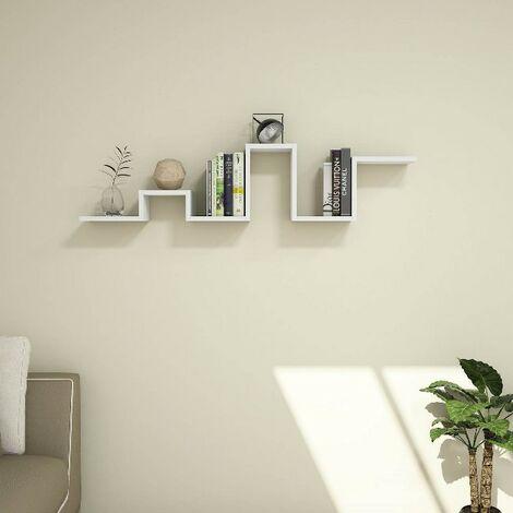 Estante Bumpy Flotante, de Pared, para Libros - para Salon, Oficina - Blanco en Madera, 131 x 20 x 30 cm