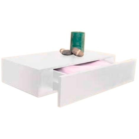 Estante colgante blanco con cajón 48x25