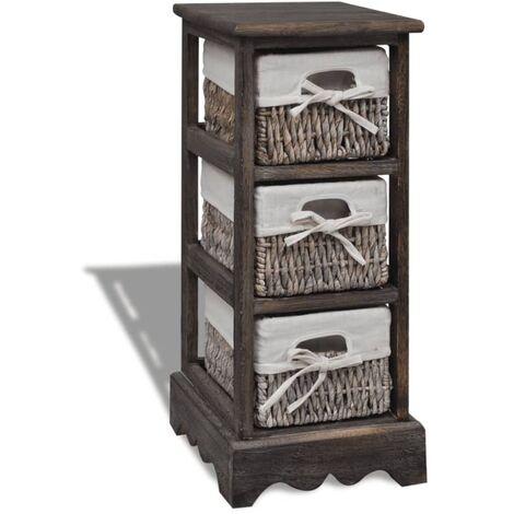 Estante con 3 cestas tejidas de almacenamiento madera marrón