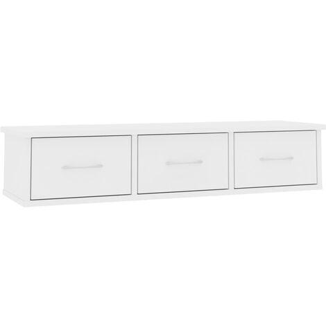 Estante con cajones de pared aglomerado blanco 90x26x18,5 cm