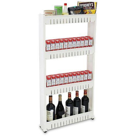 Estante con Ruedas, Estantería de Almacenamiento con Ruedas, 4 compartimientos, 112 x 54 x 12 cm, Blanco, Material: PP