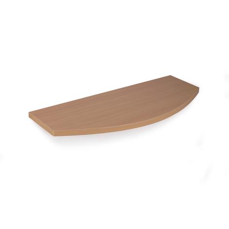 Estante con un perfil curvo de madera, de estilo clásico, acabado en haya transparente y 250 mm de profundidad.