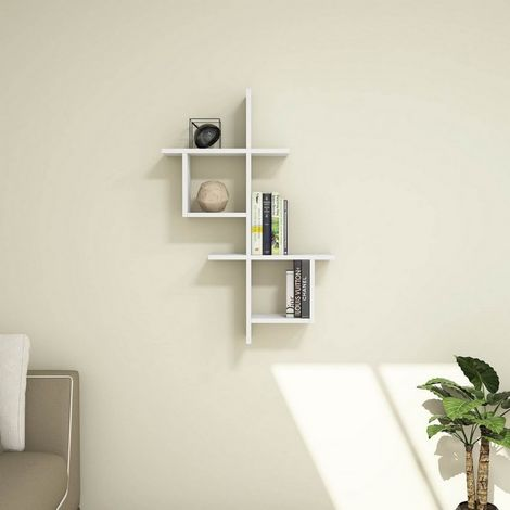 Estante Concur - Flotante, de Pared, para Libros para Salon, Oficina - Blanco, in Aglomerado Melaminico, PVC, 68,2x22x100 cm
