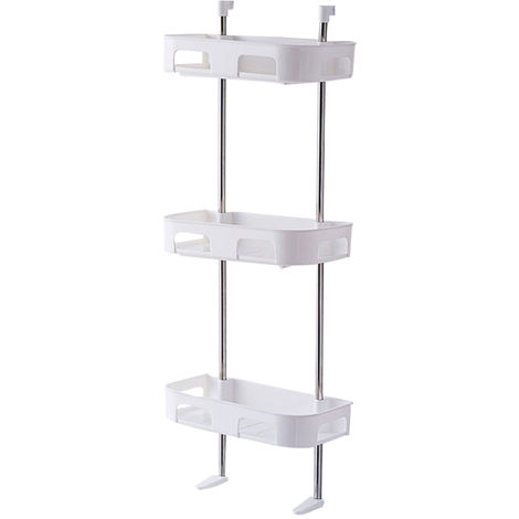 Estante de almacenamiento de inodoro, estante de bano, blanca, de tres niveles