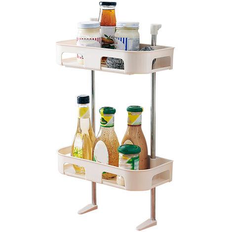 Estante de almacenamiento de inodoro, estante de cocina,Beige, de dos pisos