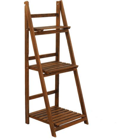 Estante de almacenamiento de plantas de 3 niveles para estantes de almacenamiento de macetas (marrón)