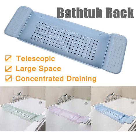 Estante de bañera ajustable Estante Caddy Estante de ducha Bañera Almacenamiento de baño Estante de desagüe de cocina rosa