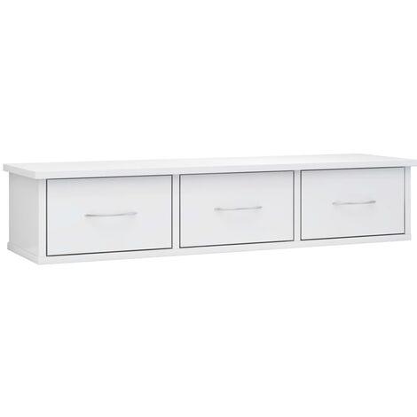 Estante de cajones pared aglomerado blanco brillo 90x26x18,5 cm
