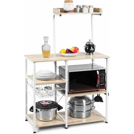 Estante de Cocina con Canasta de Metal y Ganchos Estante de Horno Microondas para Especias Utensilios de Cocina Platos Almacenamiento Beige