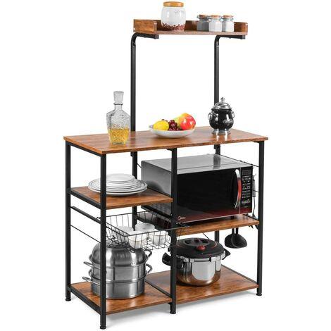 Estante de Cocina con Canasta de Metal y Ganchos Estante de Horno Microondas para Especias Utensilios de Cocina Platos Almacenamiento Marrón