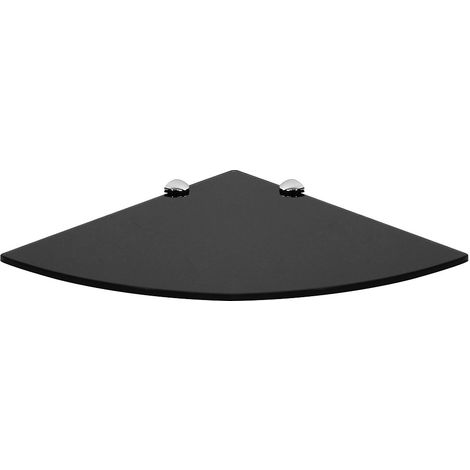 Estante de cristal Estante de esquina Estante de pared Soporte de 350x350mm Negro estante flotante estante de rincón esquinero de cristal