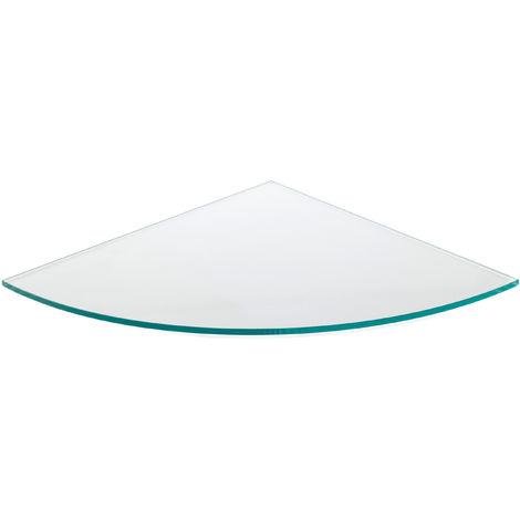 Estante de cristal templado esquinero, con estilo decorativ transparente y 350 mm de profundidad.