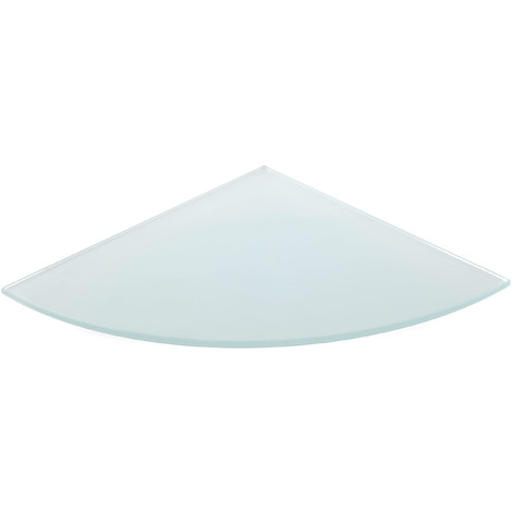Estante de cristal templado esquinero, con estilo decorativo, acabado en cristal mate y 250 mm de profundidad.