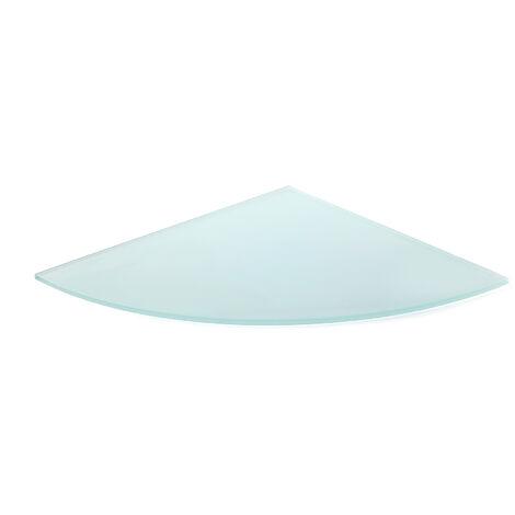 Estante de cristal templado esquinero, con estilo decorativo, acabado en cristal mate y 300 mm de profundidad.