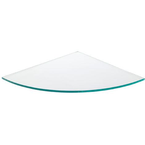 Estante de cristal templado esquinero, con estilo decorativo, acabado en cristal transparente y 300 mm de profundidad.