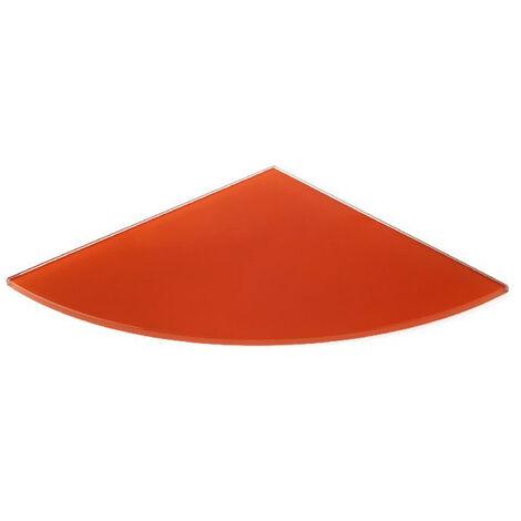 Estante de cristal templado esquinero, con estilo decorativo, acabado en naranja brillo y 250 mm de profundidad.