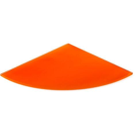 Estante de cristal templado esquinero, con estilo decorativo, acabado en naranja y 250 mm de profundidad.