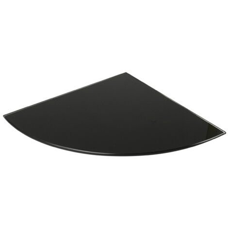 Estante de cristal templado esquinero, con estilo decorativo, acabado en negro y 250 mm de profundidad.