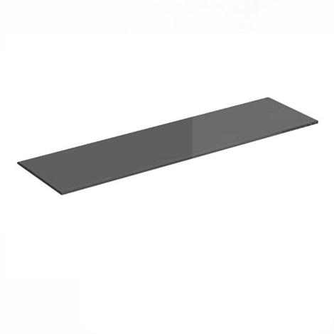 Estante de cristal templado rectangular, con estilo clásico, acabado en negro y 150 mm de profundidad.