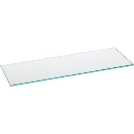 Estante de cristal templado rectangular, con estilo decorativo, acabado en cristal transparente y 150 mm de profundidad.