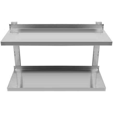 Estante de doble pared consola estante de acero inoxidable estante de pared 80 cm