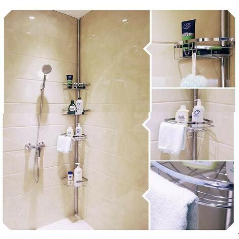 Estante de ducha telescópico de pared para baño de acero inoxidable
