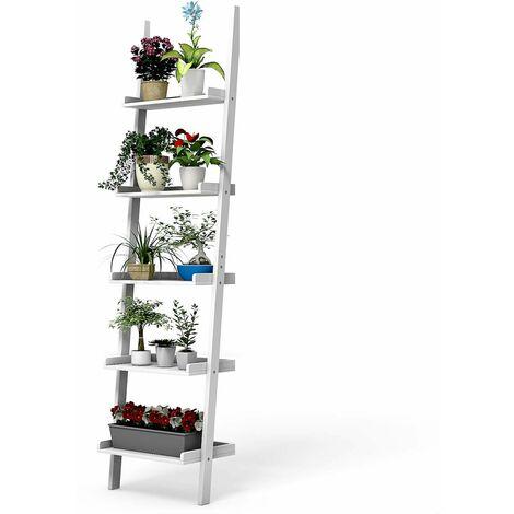 Estante de Escalera con 5 Capas Madera Estante de Pared para Planta Flores Librería (Blanco)