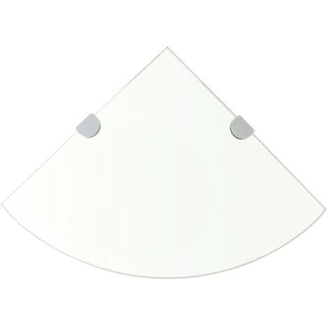 Estante de esquina con soportes cromados vidrio claro 25x25 cm