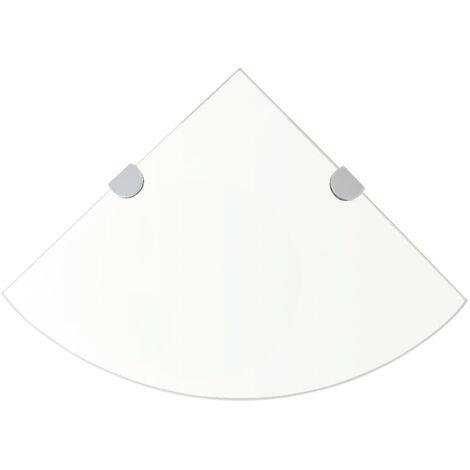 Estante de esquina con soportes cromados vidrio claro 35x35 cm