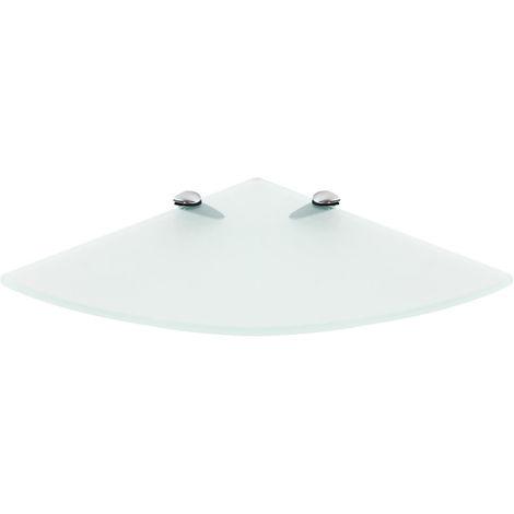Estante de esquina de cristal Estante de pared Soporte Cristal esmerilado 250x250mm Estante de baño estante flotante de rincón esquinero