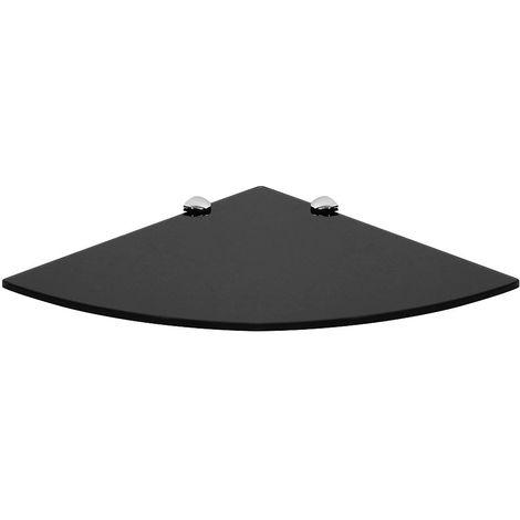 Estante de esquina de cristal Estante de pared Soporte Negro 25x25CM Estante de baño estante flotante estante de rincón esquinero de cristal