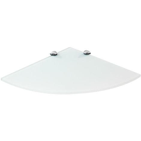 Estante de esquina de cristal + montaje Estante de pared Soporte Blanco 35x35CM Estante de baño estante flotante estante de rincón esquinero