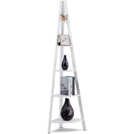 Estante de Esquina de Madera 5 Estante escalera de Salón de Pie para Baño CD Libros Planta Almacenamiento Blanco