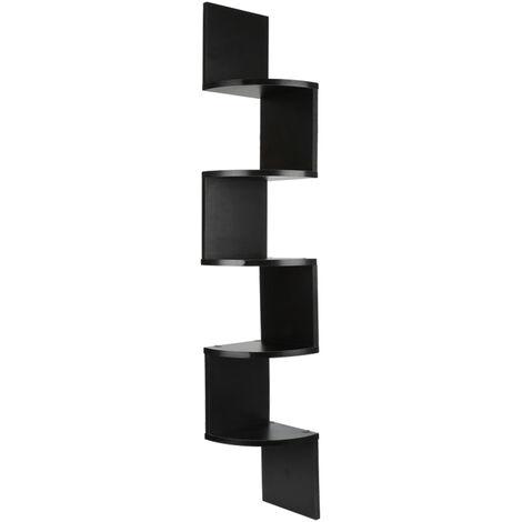 Estante de esquina Estante de pared Estante en forma de zigzag Estante para libros Negro