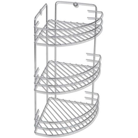 Estante de esquina para ducha de metal 3 niveles