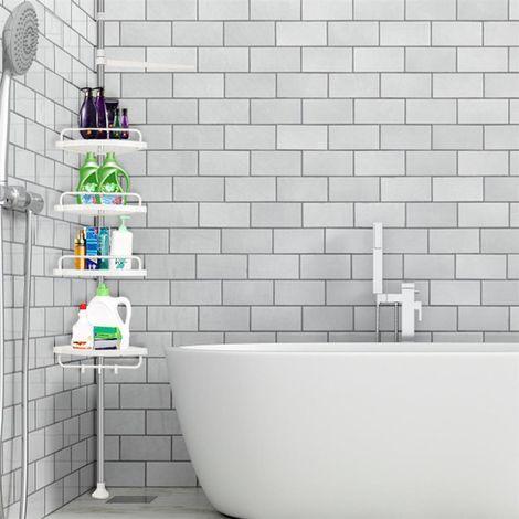 Estante de esquina • telescópico • 4 estantes • blanco | Baño, ducha, estante ajustable
