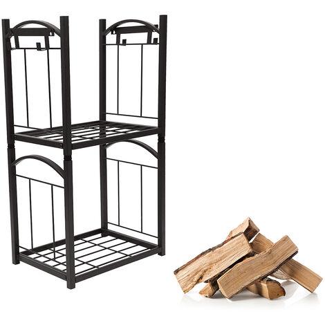 Estante de madera para chimenea, soporte para leños de 2 niveles, herramientas para chimenea, pala, escoba, pinzas, atizador, negro 32 * 46 * 85 cm