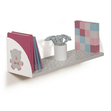 Estante de madera y soportes rectangular, fabricado en DM y acero, con un motivo de osos y estilo infantil.