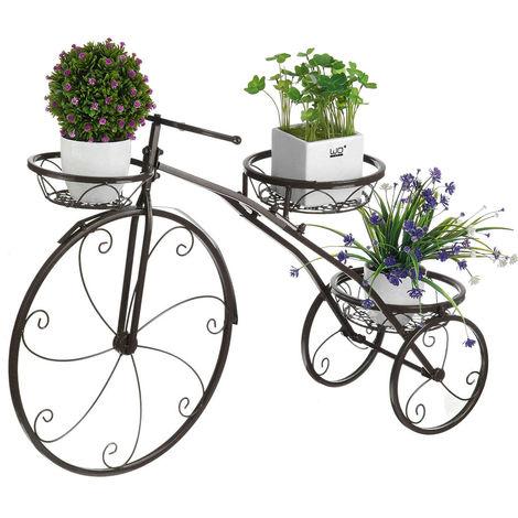 Estante de metal para plantas, maceta con forma de bicicleta, maceta, rejilla, negro