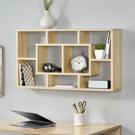 Estante de pared con 8 compartimientos - 85 x 47,5 x 16 cm - Diseño - Práctico - Armario de pared - Color de madera