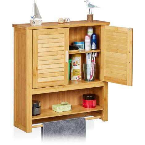 - Estante de pared con armario LAMELL, bambú, 66 x 62 x 20 cm, cuarto de baño, 2 puertas color natural
